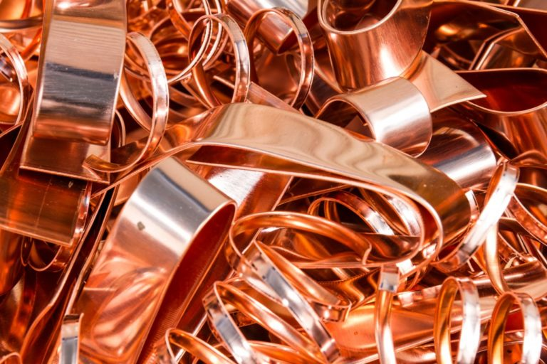 Scrapheap of copper foil for recycling