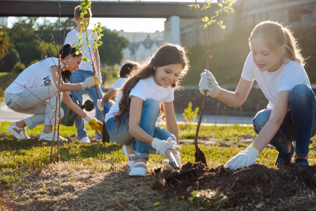 kid volunteers planting trees