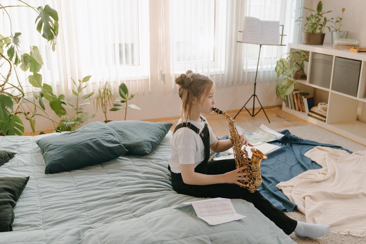 kid playing instrument